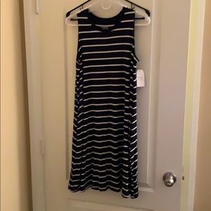 Time and Tru navy blue and white strip dress